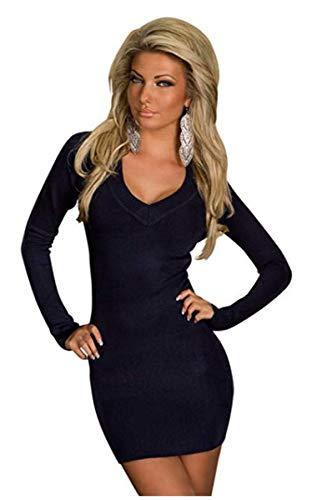 OSAB-Fashion 24968 Damen Strick Pullover Minikleid Strickkleid Long-Pullover Langarm V-Ausschnitt -