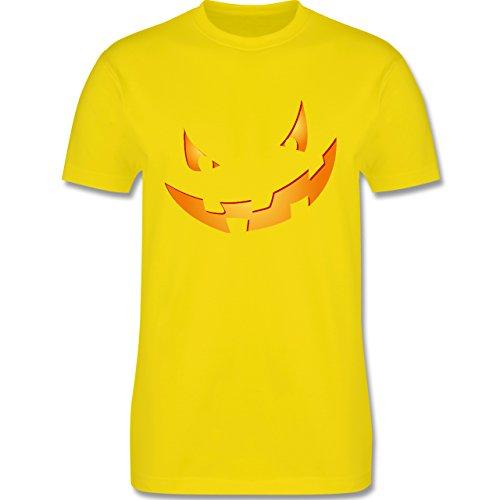 Halloween - Kürbisgesicht klein Pumpkin - Herren Premium T-Shirt Lemon Gelb