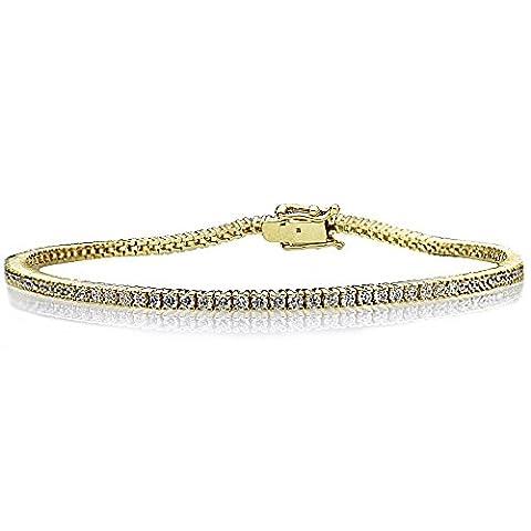 14 ct Yellow Gold 1.5mm 1.5 ct.tw Round Cubic Zirconia Prong Set Tennis Bracelet