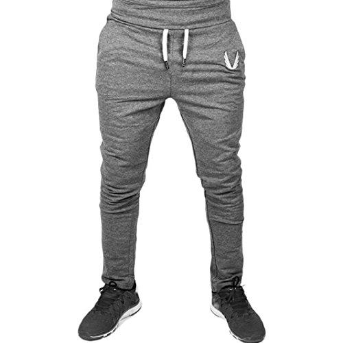 Jogginghose Herren, ZIYOU Sportkleidung Elastisches Eignungs Sport Trainings Turnhalle Keucht Hosen Dünnes (Grau-A, Taille: 78-94cm) (Basic Knit Pants)