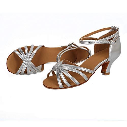 VESI – Damen Schuhe Standard/Latein 5cm/7cm Absatz Silber 40 - 3