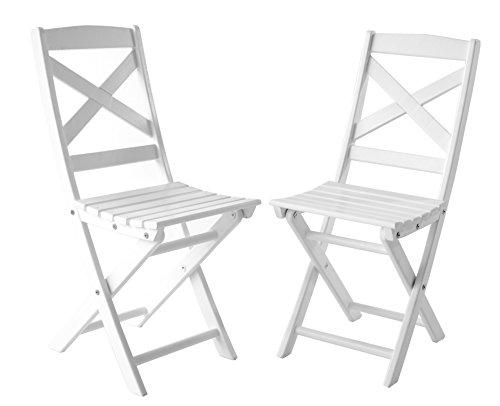 Ambientehome Klappstuhl Faltstuhl Balkonstuhl Massivholz Lotta, Weiß, 2-teiliges Set