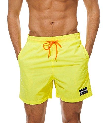 MODCHOK Herren Strandhosen Kurze Hosen Sommerhosen Badeshorts Drucken mit Kordelzug Schnelltrocknend 2-Gelb L -