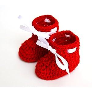 Love Crochet Art Crochet Baby Woolen Booties for 0-6 Months - Red