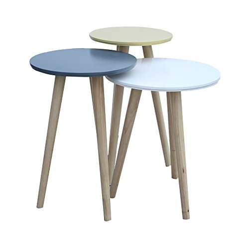 Mobili Rebecca Set 3 Tables Basse Superposables Tables de Salon Marron Clair Blanc Jaune Huile Bleue Bois Retro Chambre (Cod. RE6019)