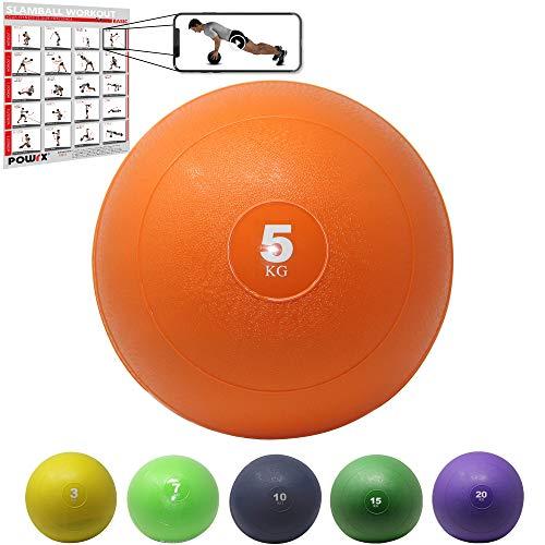 POWRX Slam Ball Balón Medicinal 5 kg - Ideal Ejercicios