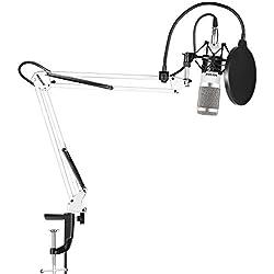 Neewer NW-800 Pro Estudio Radiodifusión Grabación Micrófono Condensador con NW-35 Mic Ajustable Suspensión Tijera Brazo Soporte Montura Choque Negro y Abrazadera Montaje Mesa,Pop Filtro-Blanco y Plata