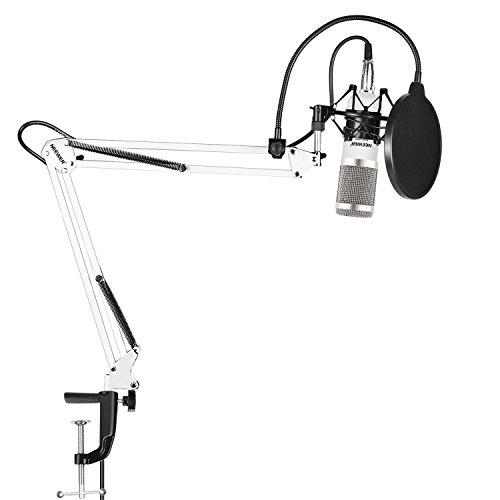 Neewer NW-800 Pro Studio Runfunk Aufnahme Kondensator Mikrofon Set mit NW-35 Einstellbarem Scherenarm Aufhängung Ständer mit Metall Shock Mount und Tisch Montageklammer, Pop Filter (weiß/silber)