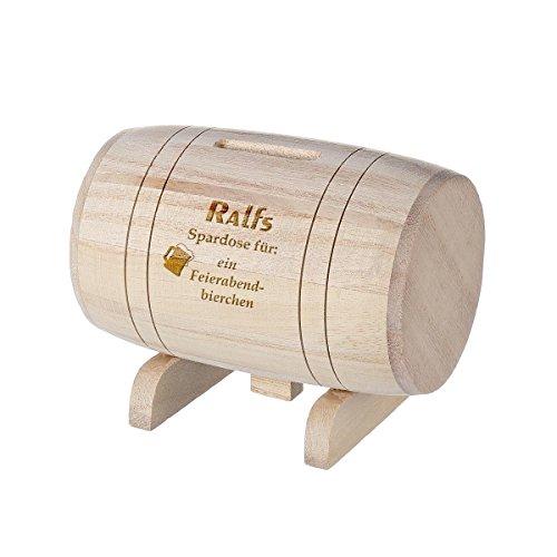 polar-effekt Spardose aus Holz - Sparbüchse Form Fass mit Gravur - Geschenk für jeden Anlass - Motiv Feierabendbier