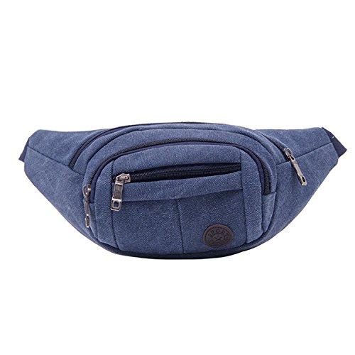 ZYT Reißverschluss-Taschen Sport Herren retro Leinwand Tuch Paket für Männer und Frauen Handy Tasche Blue