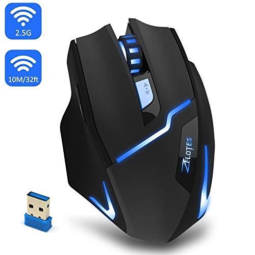 wireless gaming mouse, profi - optical mouse einstellbare führte gaming - mäuse 3 dpi level 6 buttons 2,4 ghz mit usb - empfänger für pc, mac pro - gamer - laptop, netbook