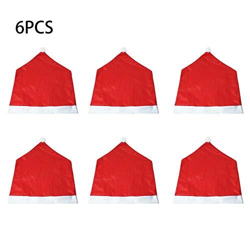 Sairis 6 Stücke Weihnachten Stuhlabdeckung Weihnachtsmann Kappe Chaircase Dinner Party Red Hat Stuhl Abdeckung Weihnachtsdekoration Ornament (rot) - Dinner-stühle Red