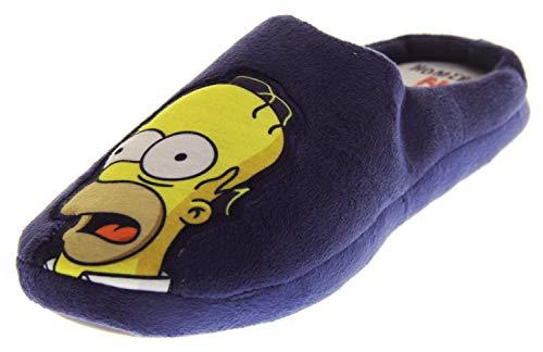 Herren Simpsons Bequeme Pantoletten Aus Fleece Marine Blau EU 45-46