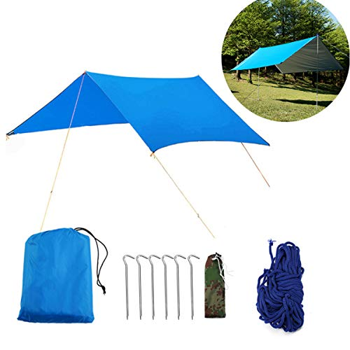Buycitky Tarp Zeltplane Sonnensegel Camping Zeltplane Hängematte Tarp Sonnenschutz UV Schutz Zelt Shelter Wasserdichtes mit Ösen Tragbare Leichte für Camping Outdoor Travel (3 * 3M) by - Sonne Zelt Strand
