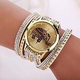 XKC-watches Herrenuhren, 2015 Neue Frauen-Designer-Marke Uhren Elefanten Mode Uhr (Farbe : Weiß, Großauswahl : Für Damen-Einheitsgröße)