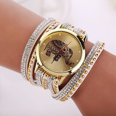 Relojes Hermosos, 2015 nueva marca de las mujeres relojes de diseño de moda reloj elefante ( Color : Blanco , Talla : Para Mujer-Una Talla )