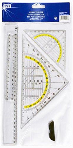 TSI 46284 Zeichengarnitur 4-teilig mit Lineal 17 cm, 30 cm, Geometriedreieck 16 cm, 25 cm