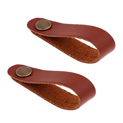 2 Stück Mikrofaser Lederband mit Knopf für alle Standard Gitarrengurt (19.5cm) - Braun