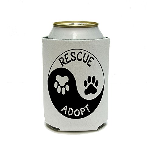 Rescue adopter Yin Yang – empreintes de pattes animaux chiens chats Boisson Can Cooler – isolant – Boisson isotherme support