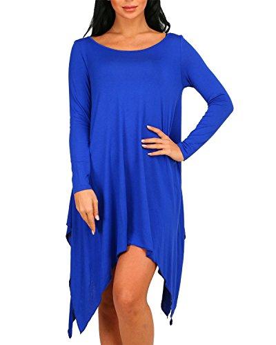 Auxo Damen Langarm Dünne Unregelmäßig Lose Slim Party Longshirt Kurz Mini Kleider Blau