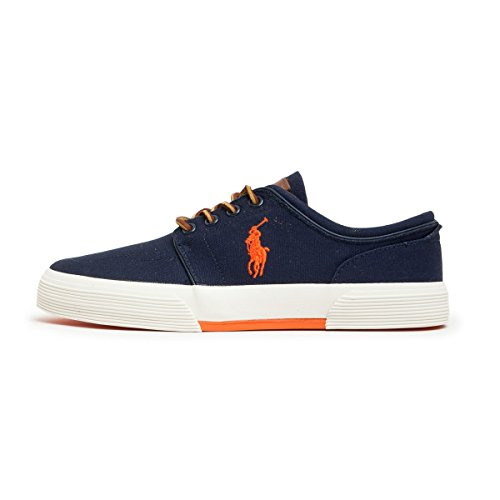 POLO Ralph Lauren - Baskets basses - Homme - Sneakers Faxon Canvas Bleu Marine Contraste Orange pour homme Bleu