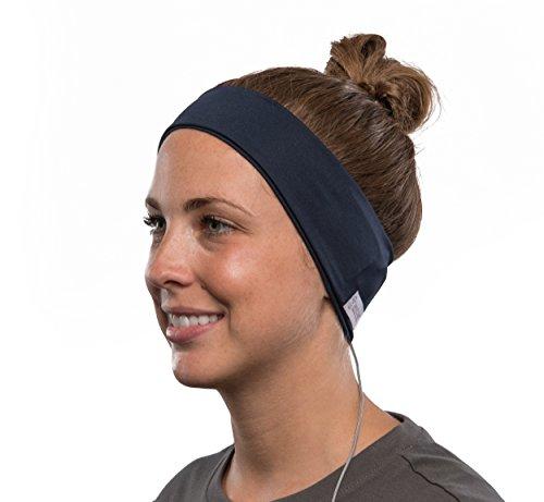 AcousticSheep weiches, dünnes SleepPhones Microphone Breeze Polyester-Stirnband mit integriertem Kopfhörer, Lautstärkeregler, Mikrofon für Smartphone und Tablet (Größe: M) galaxy blau