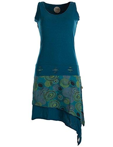 Vishes - Alternative Bekleidung - Ärmelloses asymmetrisches Lagenlook Zipfelkleid türkis 40 - Hippie Ärmelloses Kostüm