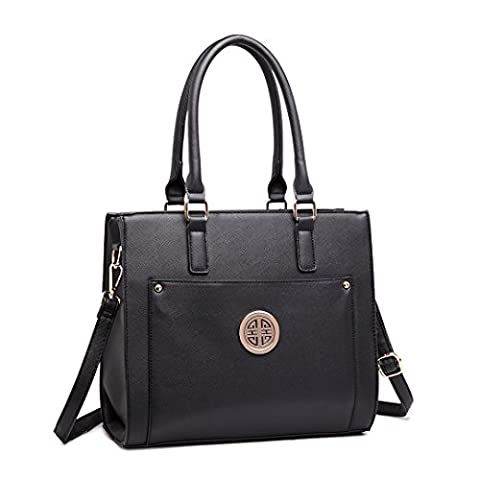 Miss Lulu Women Designer Shoulder Handbag Faux Leather Satchel Tote Bags With Large Front Pocket (1650 Black)