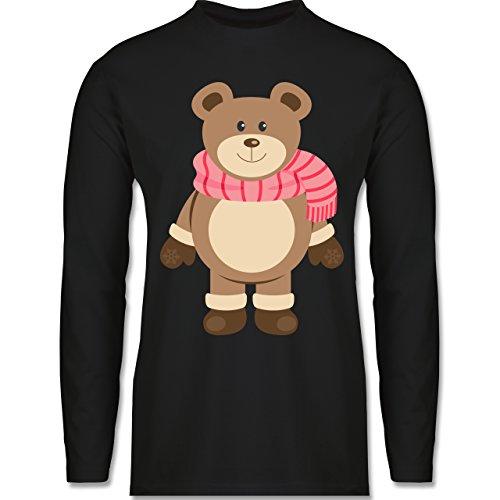 Weihnachten & Silvester - Winter Teddy mit Schal - Longsleeve / langärmeliges T-Shirt für Herren Schwarz