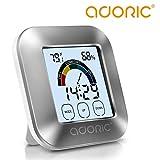 ADORIC Thermometer-Hygrometer Hygrometer-innen Digitales Hygrometer Luftfeuchtmesser Feuchtigkeit Monitor Innenraum luftüberwachung mit Uhr & Timer und intelligentem Berührungsbildschirm
