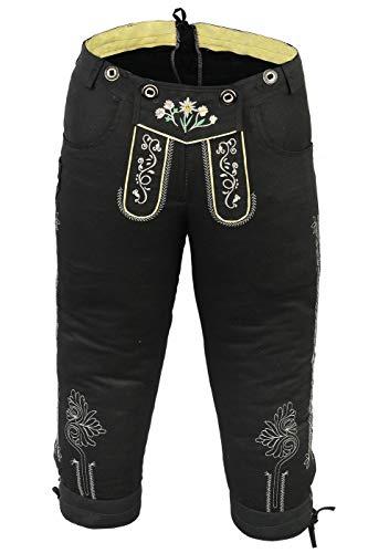 German Wear Damen Trachten Kniebundhose Jeans Hose kostüme mit Hosenträgern in der 4X Farben, Größe:34, Farbe:Schwarz