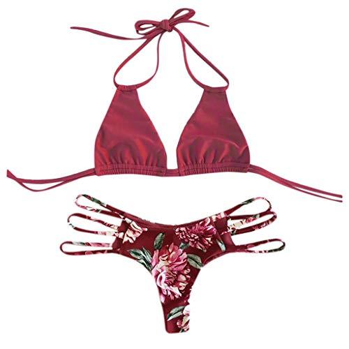 3a70bc0d6565 LuckyGirls Sexy Femmes Bikini Maillots Deux pièces de Bain Halter Bandage  Push Up Brésilien Bikini Floral