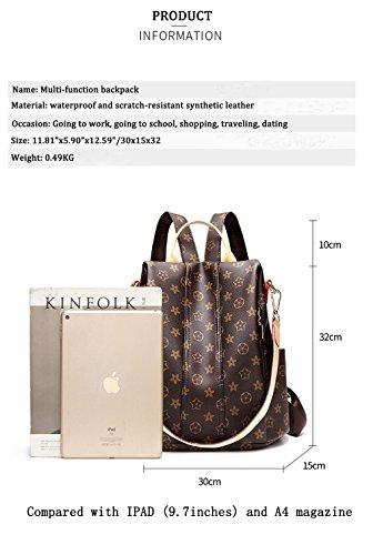 ZUNIYAMAMA Casual Purse Fashion School Leather Backpack Crossbady Shoulder Bag Mini Backpack for Women & Teenage Girls Brown Waterproof