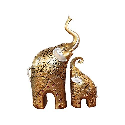 Tamumu Juego de 2 estatuas de Elefantes tailandeses de Resina y Riqueza...