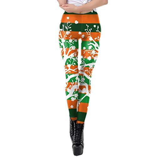 St Patricks Day Womens Kostüm - ODRD Neuheit Damen Womens St. Patrick's Day Clover Print ziehen Sich die Hosenbundhosen mit hoher Taille an Minikleid Prom Ballkleid Plus Size Kleid Abend Swing Dress Party