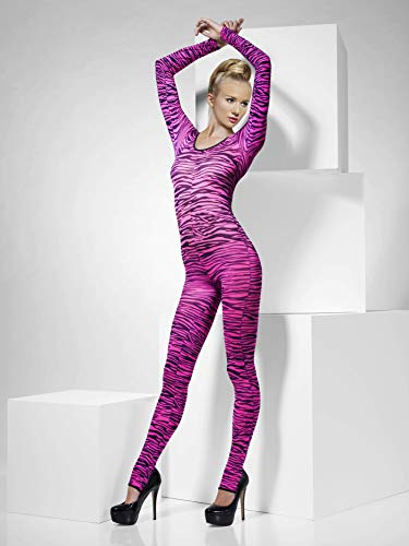Up Kostüm Dress Adult - Smiffys, Fever, Damen Bodysuit mit Zebra Aufdruck, One Size, Pink, 33869