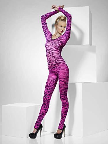 Smiffys, Fever, Damen Bodysuit mit Zebra Aufdruck, One Size, Pink, 33869