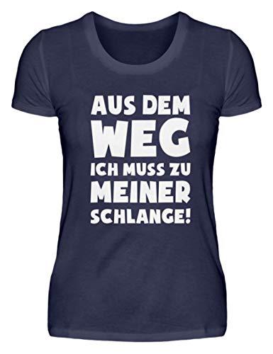 shirt-o-magic Schlangen: Muss zu Schlange! - Damenshirt -XXL-Dunkel-Blau