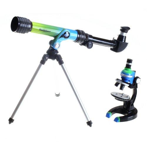 Micro-Science 92033 100/250/500X HD Mikroskop + 100 Power Teleskop Set in Tragetasche, grün/blau