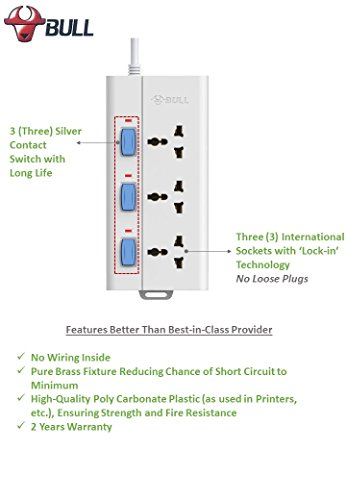 Bull Extension Board | Sockets: 3 | Wire Length: 3 mtr | Switches: 3 Individual | Circuit Breaker: No | USB Ports: No | Indicator LED: Yes | International Sockets: Yes