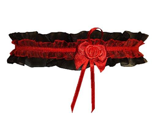 .Demoniq Schwarzes Dessous Strumpfband mit roter Rose Onesize