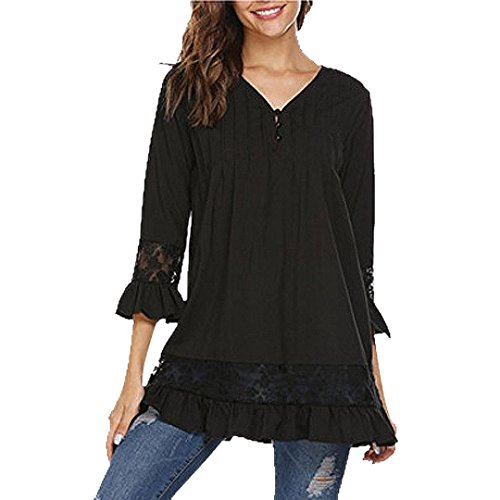 Bluestercool Femmes Manches 3/4 Col en V Boutons Tops Dentelle Blouse T-Shirt Noir
