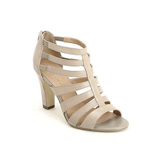 Alesya Scarpe&Scarpe - Sandales Hautes avec Bandeaux, en Cuir, à Talons 8 cm Beige