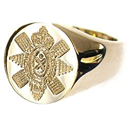 Bickerton Jewellery New 9ct yellow gold Men's Solid BLACK WATCH Seal Style Signet Ring. Excellent quality