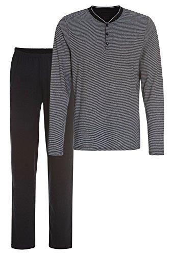 Sportiver Schlafanzug - Reine Baumwolle dunkelblau-grau,L