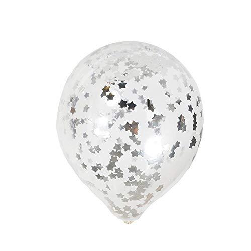 LIUYUNE,12-Zoll-Paillettenballon für romantische Hochzeitsfest-Dekoration(Color:Silber)