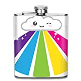 Kawaii Cloud And Rainbow 7 Oz Printed Stainless Steel Hip Flask For Drinking Liquor E.g. Whiskey, Rum, Scotch, Vodka Rust Great Gift