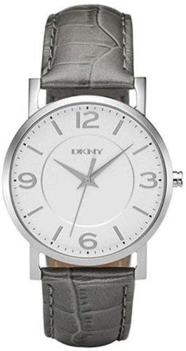 DKNY Women's NY8075 Grey Calf Skin Quartz Watch with White Dial