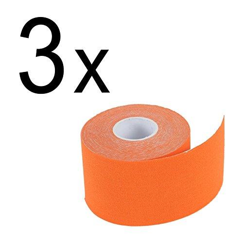 3er Pack: 2-TECH Hautfreundliches Kinesiologie Tape 5 cm x 5 Meter in Orange für elastische Tapeverbände