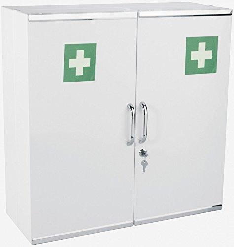 Medizinschrank aus Metall mit 2 Türen in Weiß zur Wandmontage